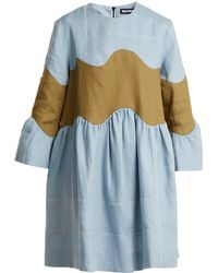 House of Holland | Wave-panel Bell-sleeved Linen Dress | Lyst