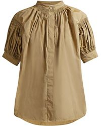 Jil Sander - Grandad-collar Smocked Top - Lyst