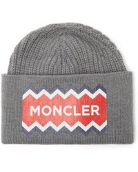 da7132d58de Lyst - Moncler Ribbed-knit Beanie Hat in Gray for Men