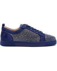 Christian Louboutin - Louis Strass Embellished Low-top Leather Trainers - Lyst