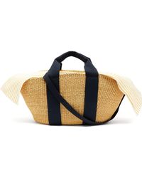 Muuñ - George Capri Canvas And Woven Straw Bag - Lyst