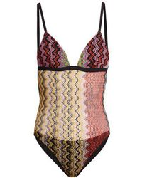 Missoni - Zigzag Knitted Swimsuit - Lyst