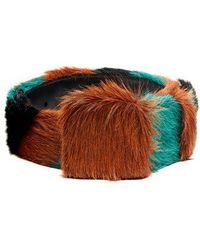 Prada - Tri-colour Striped Calf-hair Belt - Lyst