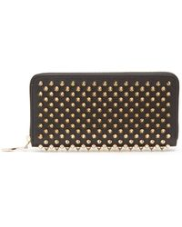 Christian Louboutin - Panettone Studded Leather Zip Around Wallet - Lyst