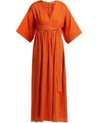 Three Graces London - Ferrers Tie Waist Linen Dress - Lyst