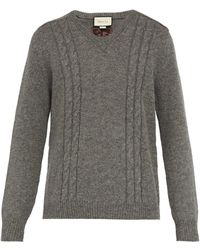 Gucci - Gg Embroidered Wool Blend Sweater - Lyst