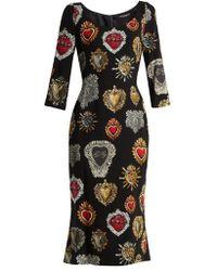 Dolce & Gabbana - Sacred Heart-print Scoop-neck Stretch-cady Dress - Lyst
