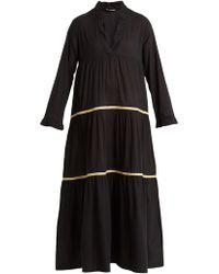 DAFT - Santorini V-neck Embroidered Cotton Dress - Lyst