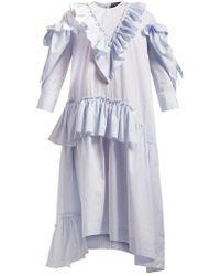 Simone Rocha - Asymmetric Ruffled Cotton-poplin Dress - Lyst