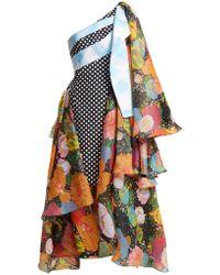 Richard Quinn - Draped Floral-print Asymmetric Dress - Lyst