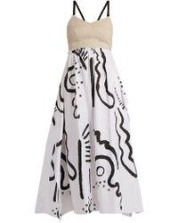 Isa Arfen - -print Cotton And Linen-blend Bustier Dress - Lyst