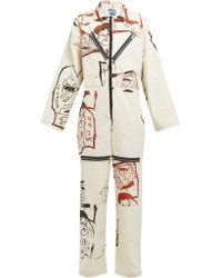 MATTY BOVAN - Sketch Printed Canvas Boiler Suit - Lyst