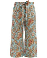 Etro - Paisley Print Wide Leg Cropped Silk Trousers - Lyst