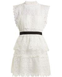 Self-Portrait - Floral-lace Bandeau Mini Dress - Lyst
