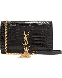 Saint Laurent - Kate Crocodile Effect Leather Cross Body Bag - Lyst