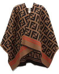 Fendi - Ff Jacquard Wool Blend Poncho - Lyst