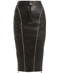 Marine Serre - Quilted Leather Pencil Skirt - Lyst