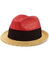 Prada - Chapeau de paille bicolore - Lyst