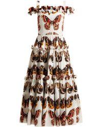 Dolce & Gabbana - Butterfly Print Cotton Poplin Dress - Lyst
