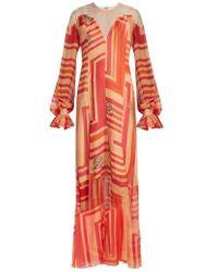 Katie Eary - Geo-print Silk-chiffon Maxi Dress - Lyst