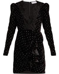 Self-Portrait - Crystal Embellished Velvet Mini Dress - Lyst