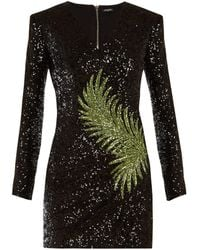 1ab57df4 Balmain Strapless Sequin Mini Dress in Black - Lyst