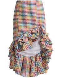Caroline Constas   Ruffled Asymmetric-hem Gingham Skirt   Lyst