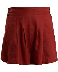 Three Graces London - Rhoda Pleated Linen Shorts - Lyst