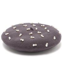Benoit Missolin - Pearl And Crystal-embroidered Wool Beret - Lyst