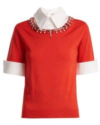 Mary Katrantzou - Ella Crystal-embellished Wool Sweater - Lyst