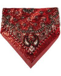 Saint Laurent - Paisley Sequin Embellished Chainmail Bandana - Lyst