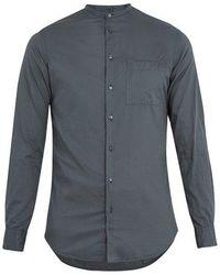 Giorgio Armani - Band-collar Shadow-striped Cotton Shirt - Lyst