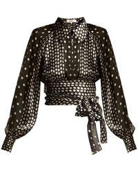 Diane von Furstenberg - Polka-dot Silk-blend Chiffon Blouse - Lyst