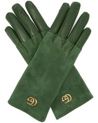Gucci - Gg Plaque Suede And Leather Gloves - Lyst