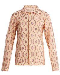 Marni - - Embroidered Eyelet Taffeta Jacket - Womens - Pink Multi - Lyst