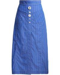 Ellery - Aggie Striped Cotton Midi Skirt - Lyst