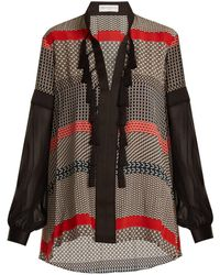 Amanda Wakeley - Geometric-print Silk Crepe De Chine Blouse - Lyst