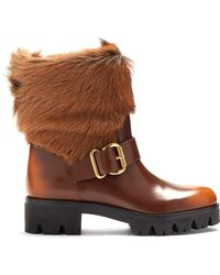Prada - Fur-trimmed Leather Ankle Boots - Lyst