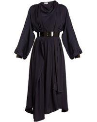 Maison Margiela - Asymmetric Draped Crepe-back Satin Dress - Lyst