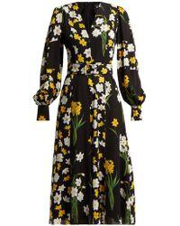 Andrew Gn - Daffodil Print Silk Midi Dress - Lyst