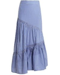 Teija - Asymmetric Smocked Gingham-cotton Skirt - Lyst