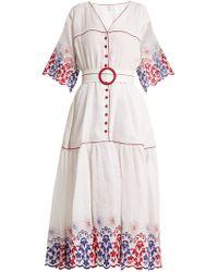Gül Hürgel   Belted Embroidered Linen Dress   Lyst