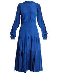 Rochas Pleated Silk Crepe De Chine Midi Dress - Blue