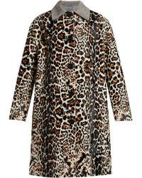 Bottega Veneta - Leopard Print And Suede Collar Coat - Lyst