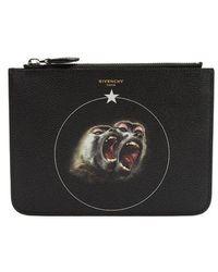 Givenchy - Monkeys-print Medium Leather Pouch - Lyst
