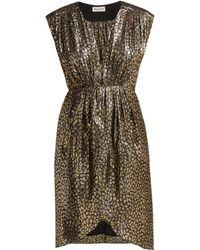 MASSCOB - Troya Silk Lurex Leopard Pattern Dress - Lyst
