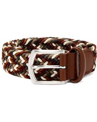 Andersons - Multicoloured Leather And Stretch Viscose Belt - Lyst