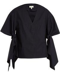 Delpozo | V-neck Sleeve-tie Cotton Top | Lyst