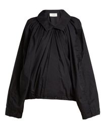 Lemaire - Gathered Cotton-poplin Blouse - Lyst
