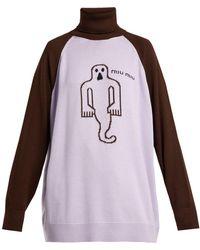 Miu Miu - Ghost Roll-neck Wool Sweater - Lyst